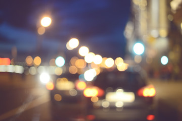 Defocused cityscape, bokeh light night street, Blurred Motion and abstract background
