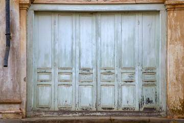 Ancient wooden door background.