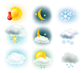 weather symbols. Sun, clouds, moon, rain, snow and thermometer
