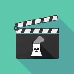 Long shadow clapperboard with a nuclear power station