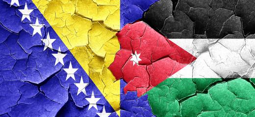 Bosnia and Herzegovina flag with Jordan flag on a grunge cracked