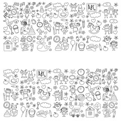 Doodle vector kindergarten elements