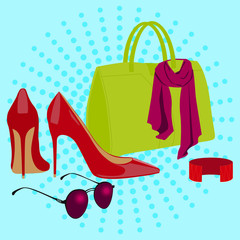 set of female accessories. Vector illustration
