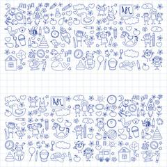 Doodle vector kindergarten elements
