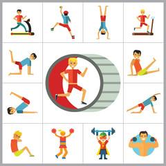 Sportsman Icons Set