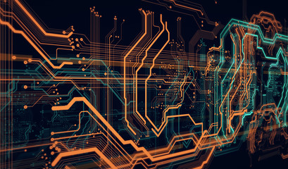 background  orange digital  integrated  network technology