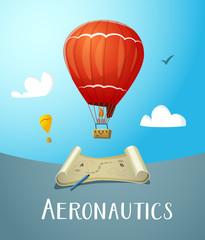 Aeronautics hot air balloon flying in blue sky.