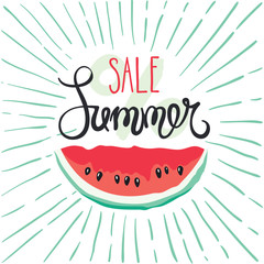 Summer sale/Pattern with handwriting calligraphy, vector illustration