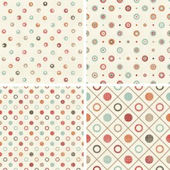 set of 4 colorful polka dots seamless patterns on shabby background