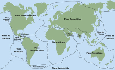 Plate tectonics- PORTUGUESE NAMES! - planet earth with major an minor plates - vector illustration.