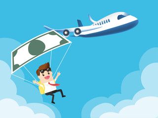 businessman used banknote like a parachute with airplane in the beautiful blue sky background. with copy space
