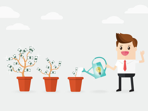businessman watering  money trees growing bigger in pots like growth business investors. increase passive income