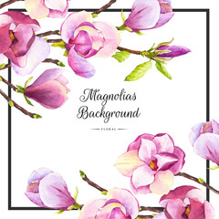 Spring background with purple watercolor magnolia.