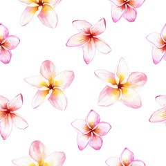 Illustration with seamless flower background. Plumeria pattern