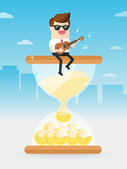 businessman playing ukulele while chilled out sitting on hourglass filled with coin of gold