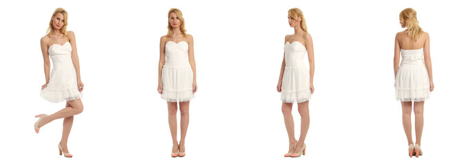 Beautiful blonde women in white sexy dress isolated