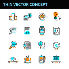 Thin line concept with flat business icons