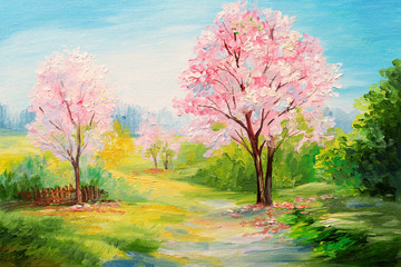 oil painting, colorful forest, сherry blossoms, art watercolour