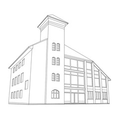 vector illustration of a house created in 3d.