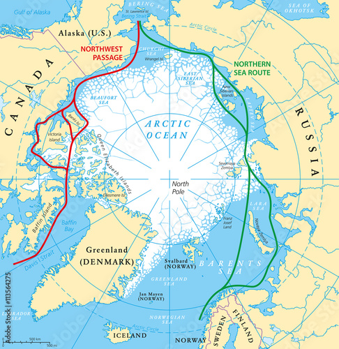 Arctic Ocean map with North Pole and Arctic Circle Arctic region