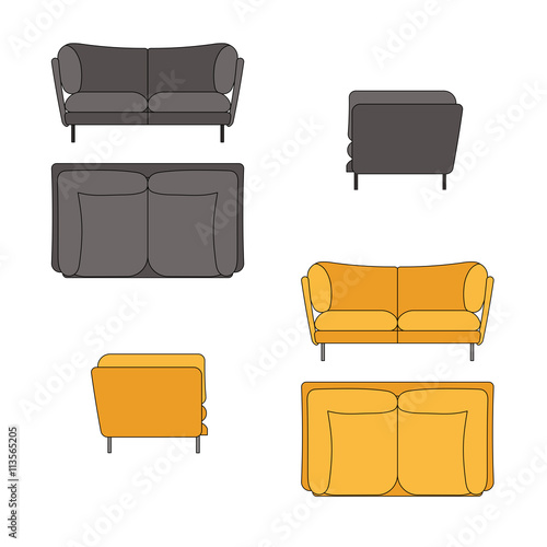 Sofa Set Flat Vector Illustration Top Front Side View Stock Image