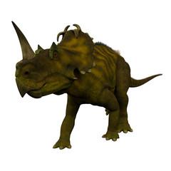 Centrosaurus Dinosaur on White - Centrosaurus was a herbivorous ceratopsian dinosaur that lived in Canada during the Cretaceous Period.