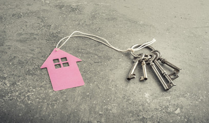 Key and house symbol. Concept of a new home or real estate business.
