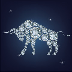 Happy new year 2021 creative greeting card with Bull made up a lot of diamonds