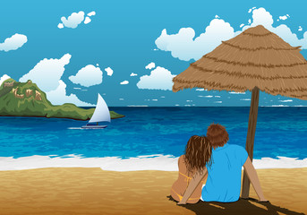 Sea shore picture with couple under parasol. Beautiful backrgound picture. Couple on holidays. Hot vacation. Hot trip.