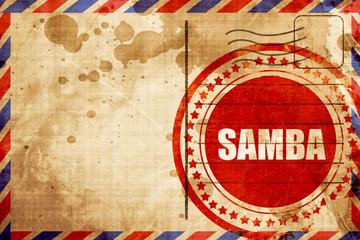 samba dance, red grunge stamp on an airmail background