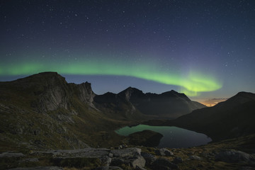 Northern Lights - Aurora Borealis in sky above mountain landscape, Moskenesøy, Lofoten Islands, Norway