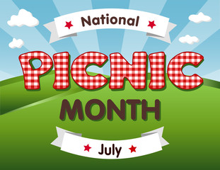 Picnic Month, national USA holiday in July celebrates the love of being outside and having a nice relaxing meal together with family and friends, red gingham checks text, blue sky background.