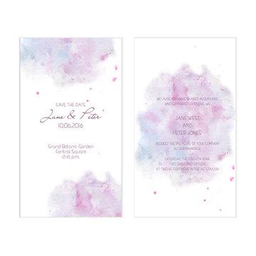 Lilac watercolor wedding invitation
