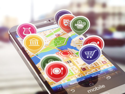 Mobile GPS navigation concept. Smartphone and application with r