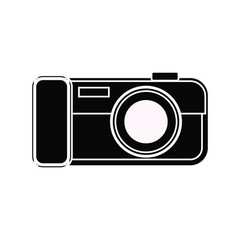 black photo camera with application on background gradient