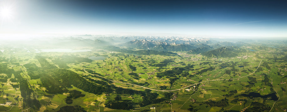 Sweeping Aerial View of Countryside