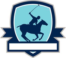 Polo Player Riding Horse Crest Retro
