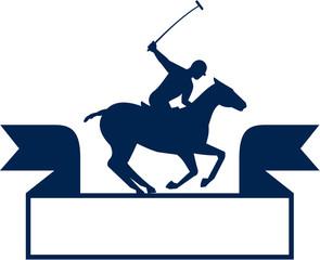 Polo Player Riding Horse Ribbon Retro