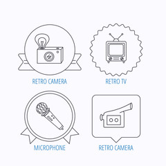 Photo, video camera and microphone icons.