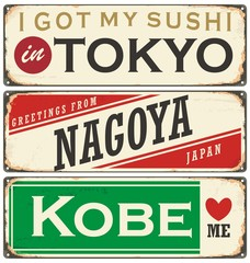Cities in Japan vintage tin signs collection