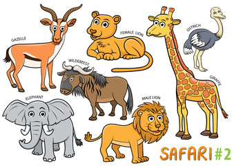 Set of Cute cartoon Animals and in the safari areas