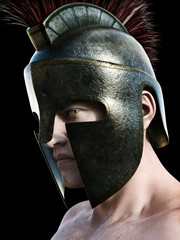 Spartan warrior wearing traditional helmet .Angled profile looking toward the camera on a black background. 3d render