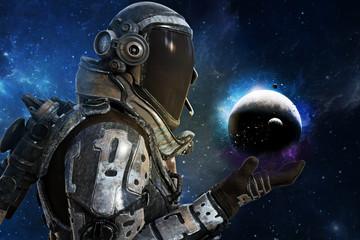 Exploration, A futuristic astronauts exploration of the galaxy concept. 3d rendering