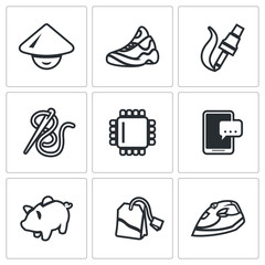 Vector Set of Cheap Labor Icons. Shoes, Electronics, Clothing industry, computer technology, smartphone, saving, tea, household appliances.