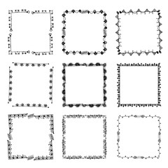 Set of ornate black picture frames isolated on white,free hand drawing of picture frame vector illustration on white isolated