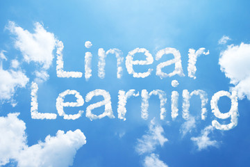 """Linear Learning"" cloud word on sky."