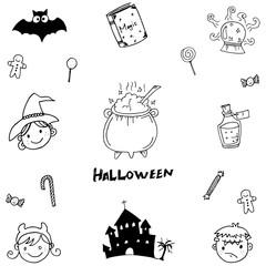Halloween element magic in doodle