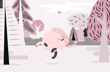 Brain running through the forest - a vector illustration of a running brain wearing sporting wear running among the trees, white and pink version