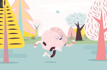 Brain running through the forest - a vector illustration of a running brain wearing sporting wear running among the trees, colorful pastel version