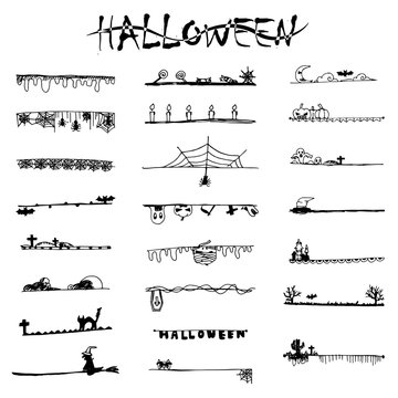 Halloween doodle black lines and stripes from free hand drawing sketch vector